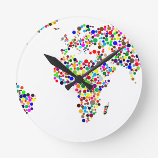 World Map in Circles Round Clock