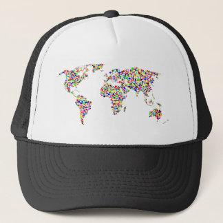World Map in Circles Trucker Hat