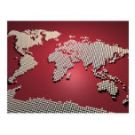 World Map in Red Postcards