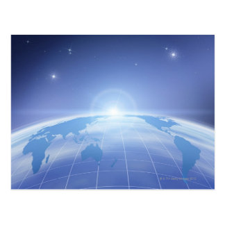 World Map in Space Postcard
