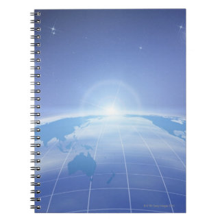 World Map in Space Spiral Notebook