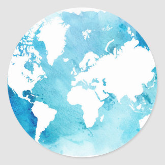 Watercolor World Map Stickers Zazzle - Round world map image
