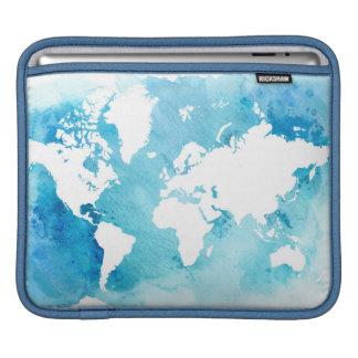 World Map In Watercolor Blues iPad Sleeve