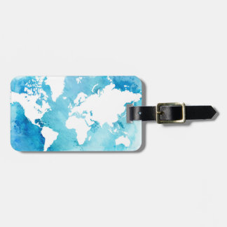 World Map In Watercolor Blues Luggage Tag