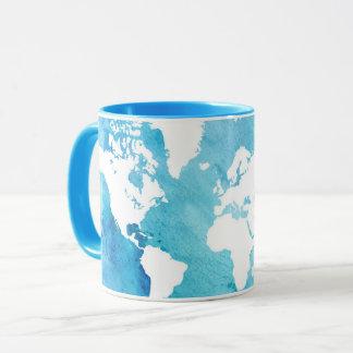 World Map In Watercolor Blues Mug