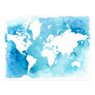 World Map In Watercolor Blues Postcard
