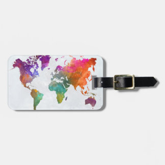 World Map In Watercolor Luggage Tag