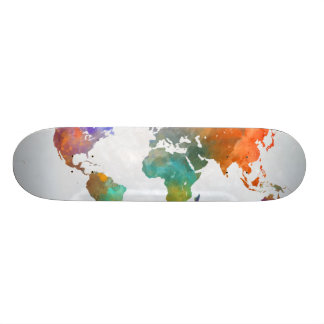 World Map In Watercolor Skateboard