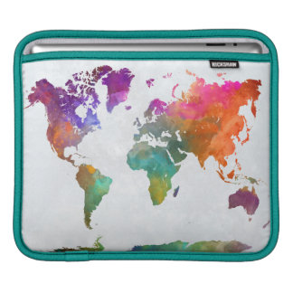 World Map In Watercolor Sleeve For iPads