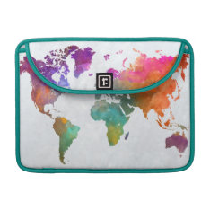 World Map In Watercolor Sleeve For Macbook Pro at Zazzle