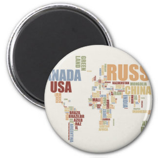 World map in words 2 inch round magnet