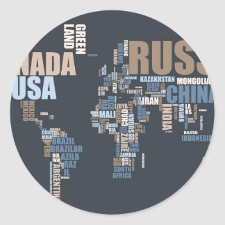 World Map in Words Classic Round Sticker