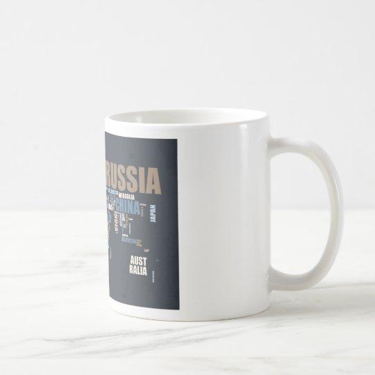World Map in Words Coffee Mug