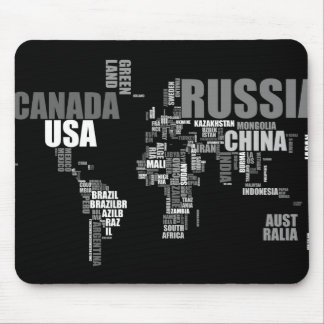 World Map in Words Mouse Pad