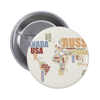 World map in words pinback button