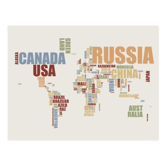 World map in words postcard