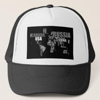 World Map in Words Trucker Hat
