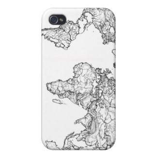 World Map ink drawing Case For iPhone 4