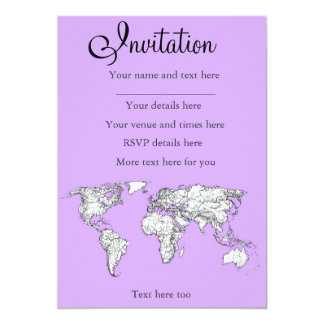World Map ink in lilac pink 5x7 Paper Invitation Card