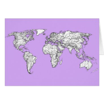 USA Themed World Map ink in lilac pink Card