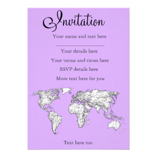 World Map ink in lilac pink Personalized Announcement