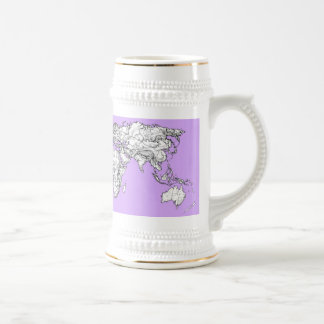 World Map ink in lilac pink Mugs
