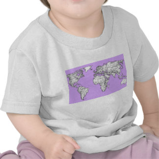 World Map ink in lilac pink Shirts