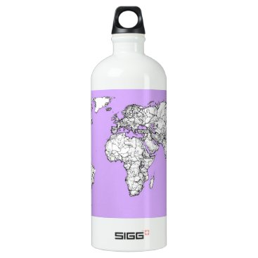 USA Themed World Map ink in lilac pink Water Bottle