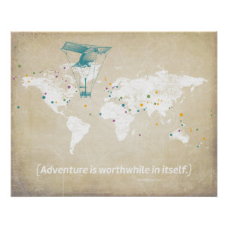 World Map, Inspirational Quote & Multicolor Dots Poster