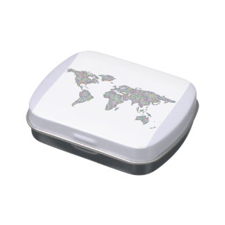 World map jelly belly tins