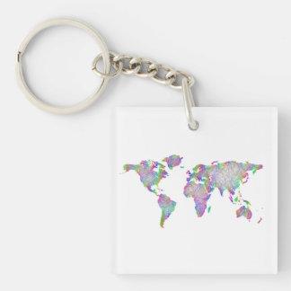 World map keychain