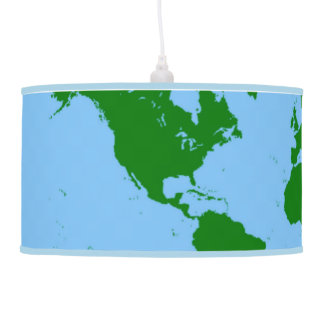 World Map Lamp in Blue and Green