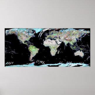 World Map Landsat Mosaic 2002 Poster
