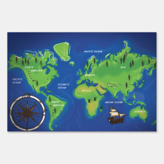 World Map Lawn Sign