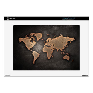 """World map leather old historical global 15"""" laptop decal"""