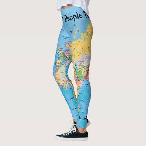 World Map Leggings YOUR NAME Yoga Pants S to XL