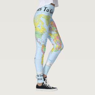 34cf486447e3b World Map Leggings YOUR NAME Yoga Pants S to XL