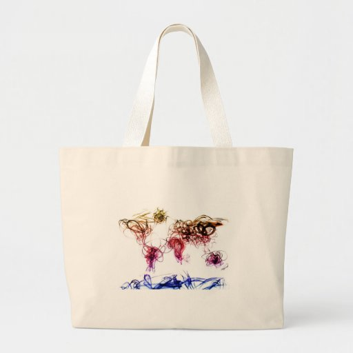 World Map Light Writing Tote Bags