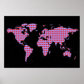 world map - love pattern poster