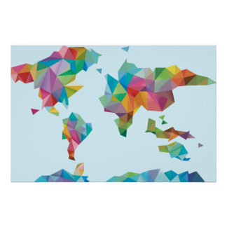 World Map Made of Geometric Shapes Poster