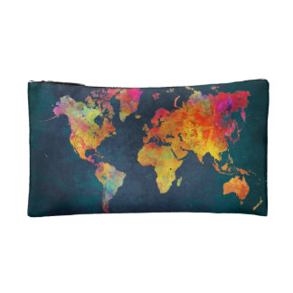 world map makeup bag