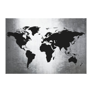 World Map Metal Gallery Wrapped Canvas