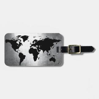 World Map Metal Luggage Tag
