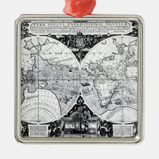 World map metal ornament