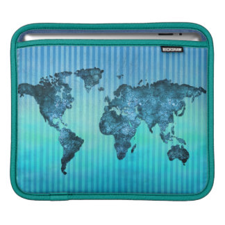 World Map   Neon Blue Stripes Sleeve For iPads