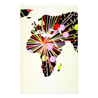 World Map New Year Stationery