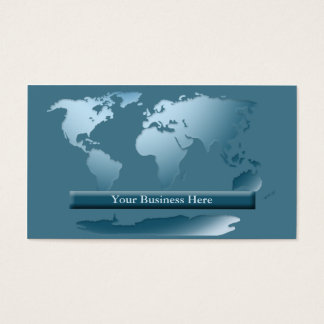 World Map Ocean Blue Business Card 1
