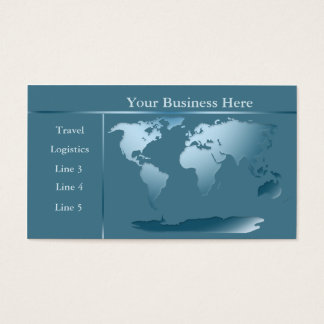World Map Ocean Blue Business Card 2