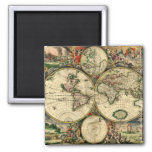 World Map of 1689 Gifts 2 Inch Square Magnet