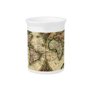 World Map of 1689 Gifts Beverage Pitcher